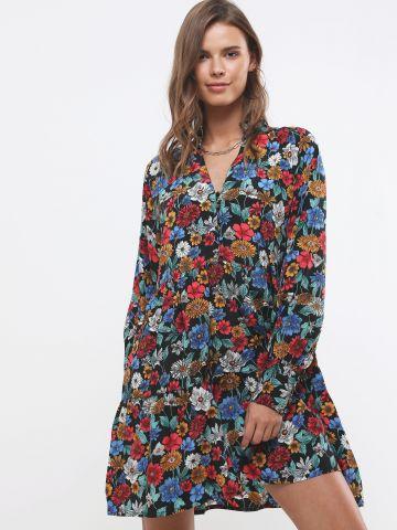 שמלת מיני פפלום בהדפס פרחים עם כפתורים