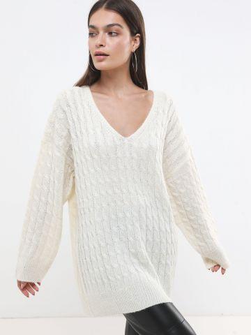סוודר צמות אוברסייז לונגליין בשילוב צמר