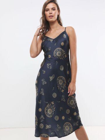 שמלת מידי סאטן בהדפס זודיאק