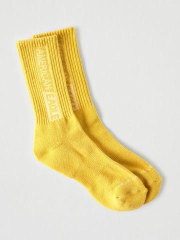 גרביים גבוהים ריב עם לוגו / גברים
