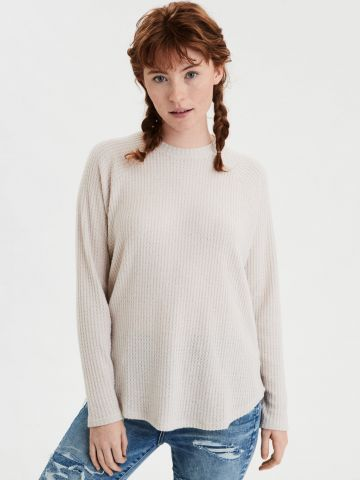 חולצת וופל שרוולים ארוכים של AMERICAN EAGLE