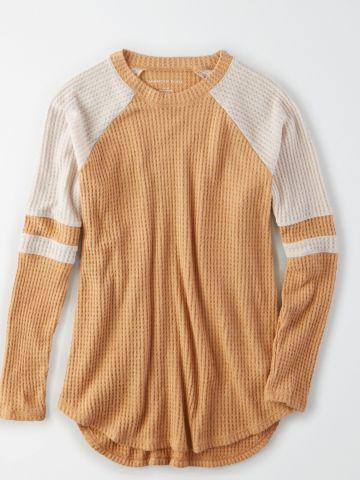 חולצת וופל קולור בלוק / נשים