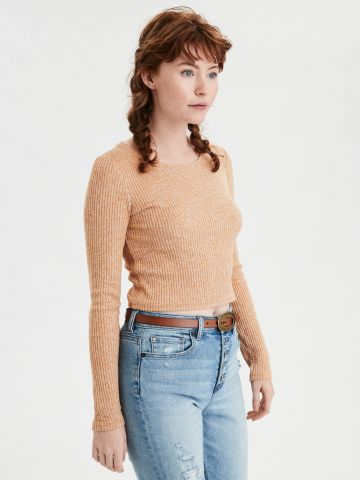 חולצת ריב קרופ עם שרוולים ארוכים