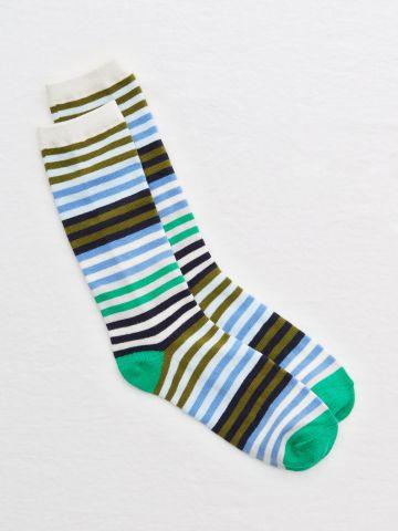 גרביים גבוהים בהדפס פסים מולטי קולור / נשים
