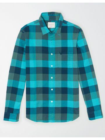חולצת משבצות מכופתרת עם כיס / גברים