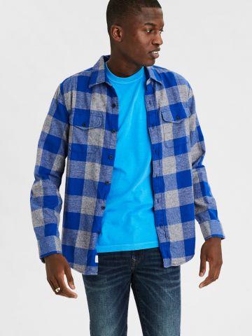חולצת משבצות מכופתרת עם כיסים