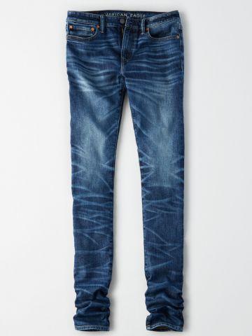 ג'ינס Skinny בשטיפה כהה עם הלבנה / גברים