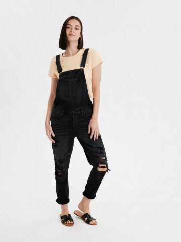 אוברול ג'ינס בשטיפה כהה עם קרעים