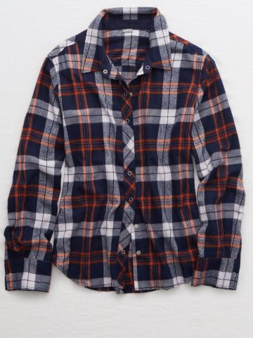 חולצת פיג'מה פלנל מכופתרת בהדפס משבצות / נשים