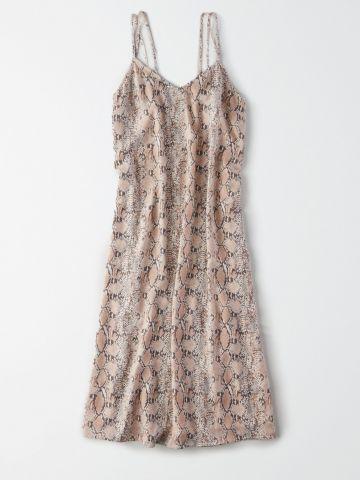 שמלת מידי בהדפס נחש עם כתפיות כפולות / נשים