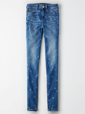 ג'ינס סקיני סטרץ' בהדפס פרחוני Hi Rise Jegging / נשים