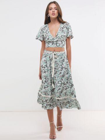 חצאית מידי בהדפס פרחים עם חגורה