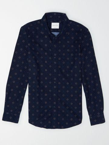 חולצת קורדורוי מכופתרת בהדפס וינטג' / גברים