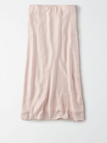 חצאית מידי דמוי משי  / נשים