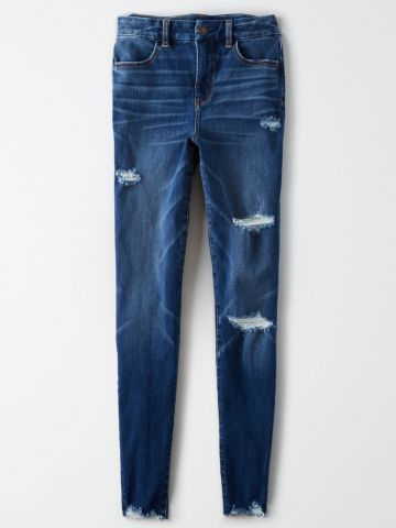 ג'ינס סקיני Curvy עם קרעים וסיומת פרומה Super Hi-Rise Jegging / נשים