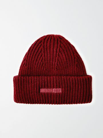 כובע צמר סרוג עם לוגו / גברים