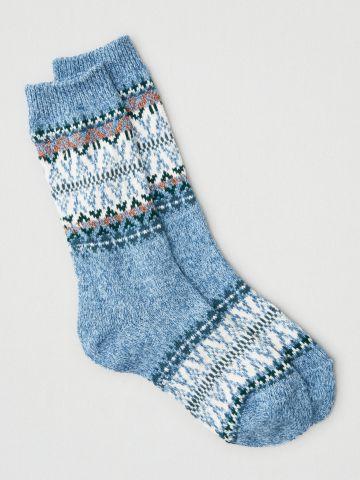 גרביים גבוהים בדוגמת זיגזג קולור בלוק  / נשים