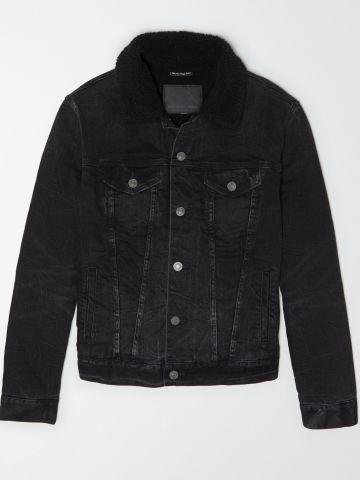 ג'קט ג'ינס ווש עם בטנה דמוי צמר / גברים