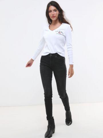 ג'ינס סקיני ווש עם כיס לוגו