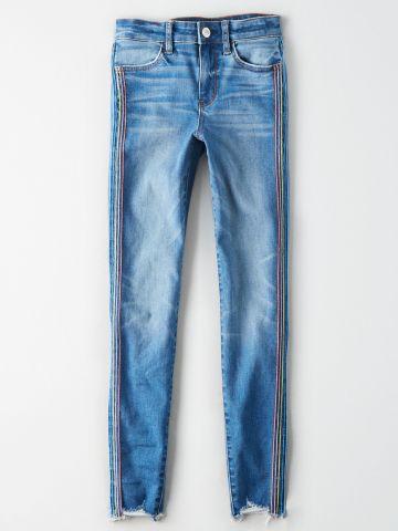 ג'ינס ווש עם סטריפים צבעוניים High Rise Jegging / נשים