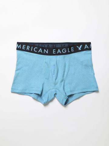 תחתוני בוקסר ג'רסי מלאנז' עם גומי לוגו של AMERICAN EAGLE