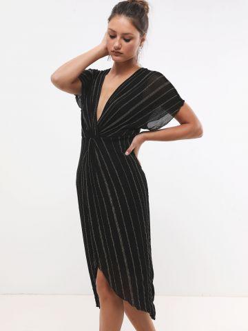 שמלת מידי עם טוויסט ופסים מטאליים X שושיין
