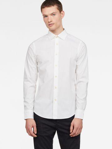 חולצה מכופתרת חלקה Slim Fit