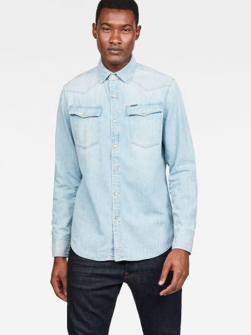 חולצת ג'ינס מכופתרת עם כיסים Slim
