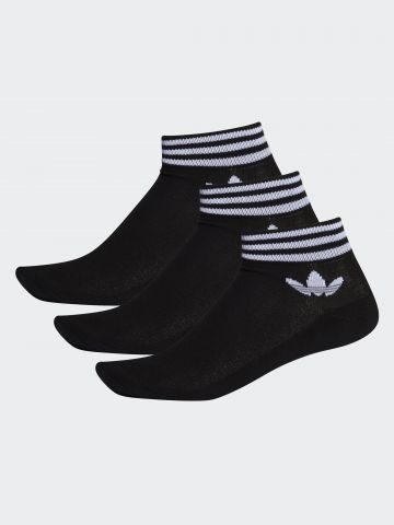 מארז 3 זוגות גרביים נמוכים עם פסים ולוגו / גברים