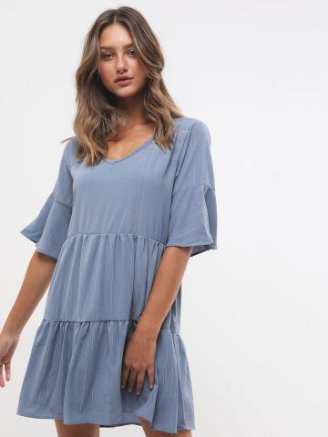 שמלת מיני קומות עם שרוולים קצרים