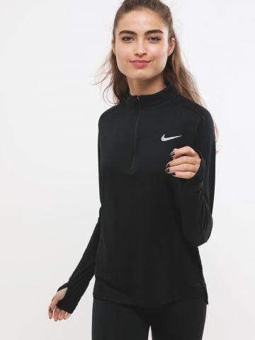 חולצת ריצה Dri-FIT שרוולים ארוכים עם לוגו ורוכסן חצי Pacer