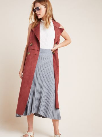 חצאית מידי סרוגה בטקסטורת ריב