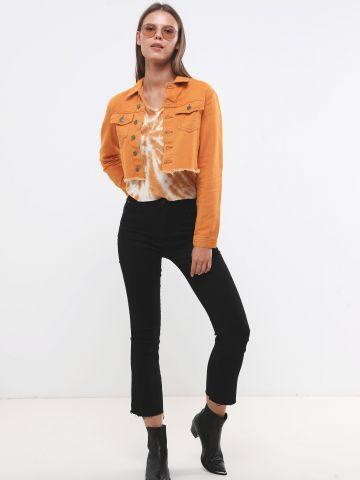 ג'ינס קרופ עם סיומת פרומה