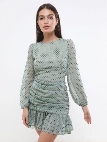 שמלת מיני שיפון בדוגמת נקודות בעיטור פפלום