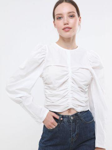 חולצת קרופ עם כיווצים של TERMINAL X
