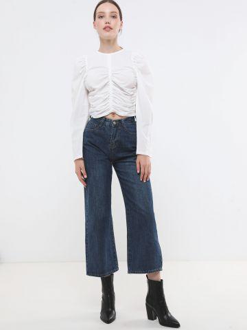 ג'ינס קרופ בשטיפה כהה