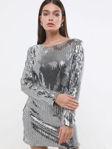 שמלת מיני פאייטים עם שרוולים ארוכים