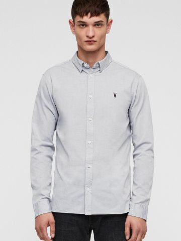 חולצה מכופתרת עם רקמת לוגו Slim-fit