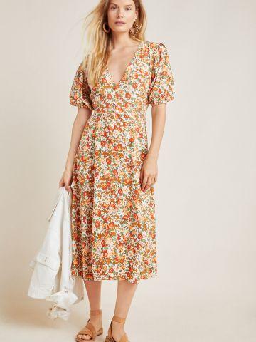 שמלת מידי מכופתרת בהדפס פרחים