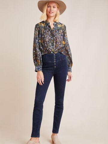 ג'ינס סקיני גבוהה בשטיפה כהה עם כפתורים