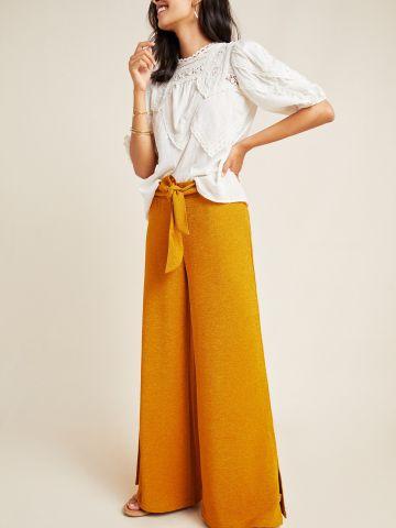 מכנסיים ארוכים רחבים עם קשירה במותן
