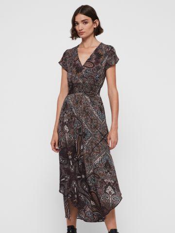 שמלת מקסי בהדפס פייזלי עם גומי במותן