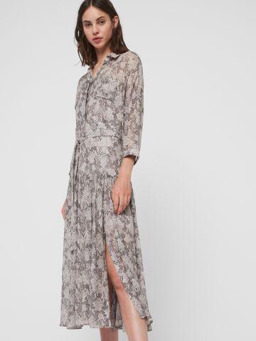 שמלת מקסי בהדפס מנוחש עם שסע וחגורת קשירה