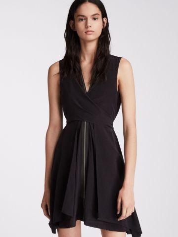 שמלת מיני משי בסגנון מעטפה עם רוכסן