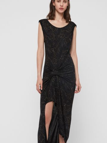 שמלת מידי אסימטרית בהדפס מנוחש עם טוויסט