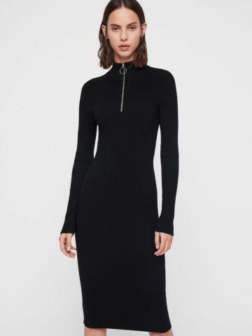 שמלת סריג ריב עם צווארון גבוה בשילוב רוכסן