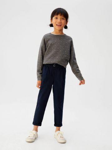 סוודר עם רקמת נקודות / בנות