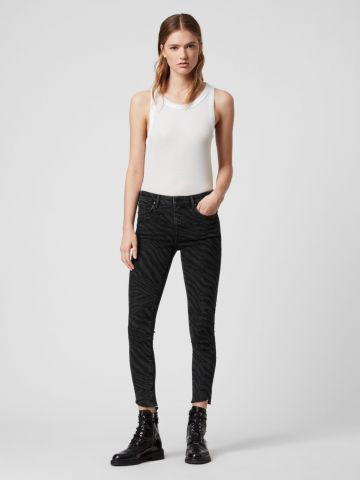 ג'ינס סקיני זברה עם סיומת גזורה