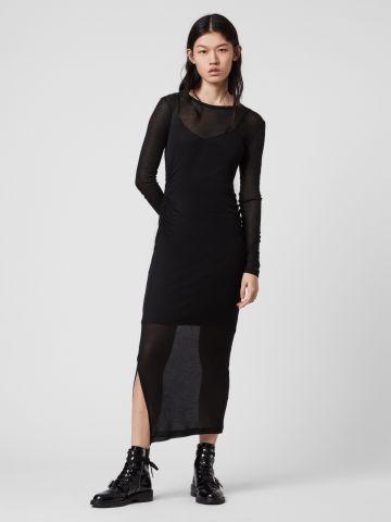 שמלת מקסי שתי שכבות עם שסעים של ALL SAINTS
