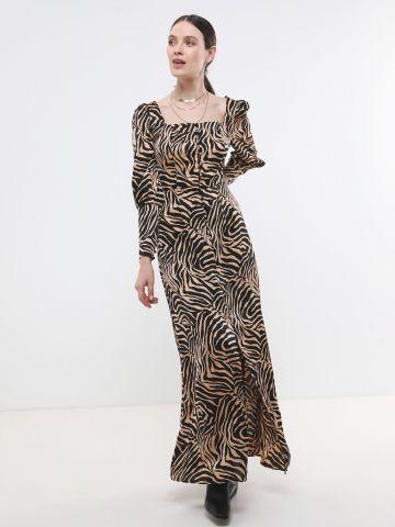 שמלת מקסי מכופתרת בהדפס זברה